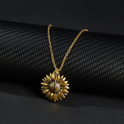 Gold Open Lock Sunflower Pendant Message You Are My Sunshine Necklace Chain UK • 3.79£