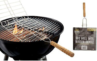 BBQ Grill Basket Chrome With Wooden Handle • 7.99£