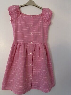 Next Girls Pink And White Check Dress Age 10 Years Worn Once  • 0.99£