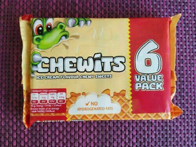 ICE CREAM CHEWITS SOFT CHEWY TANGY CLASSIC RETRO SWEETS - 6 X 30g PACKS - NEW • 23.94£