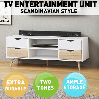 AU179.99 • Buy TV Cabinet Stand Entertainment Unit 120cm 4 Drawer Storage Shelf Sideboard White