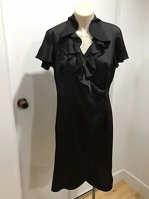 AU28 • Buy HI THERE FROM KAREN WALKER Black Faux Wrap Short Sleeve Dress Size 10 VGC