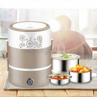 AU29.97 • Buy AUS Portable 2L 3-Layer Electric Lunch Box Rice Cooker Food Steamer Container く