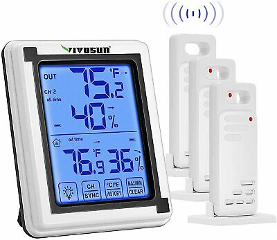 $35.99 • Buy VIVOSUN Wireless Thermometer And Hygrometer With 3 Remote Sensors Digital Hygrom