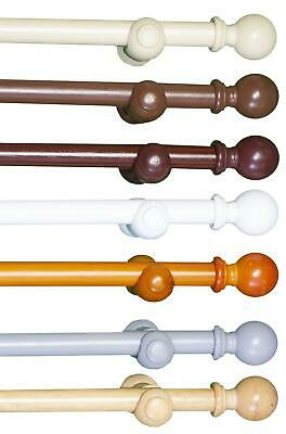 28mm Wood Eyelet Curtain Pole - Grey White Cream Pine Oak Walnut • 15.99£