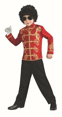 Boys Michael Jackson Fancy Dress Costume Childs Military Jacket Top Red Thriller • 8.99£