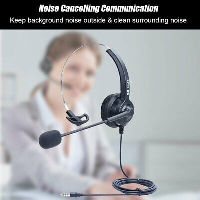 3.5MM Wired Computer Headset Mic Headphone Noise Cancelling For CallCenter Skype • 14.79£