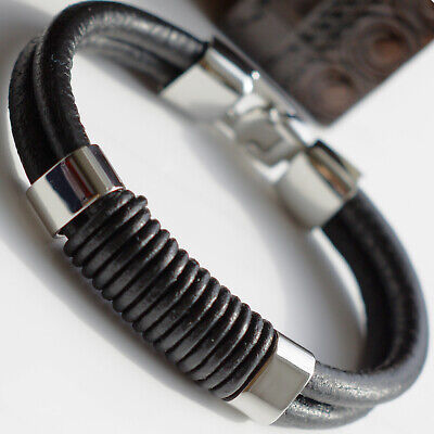 Mens Genuine Black Leather Braided Wristband Bracelet Stainless Steel Clasp • 6.99£