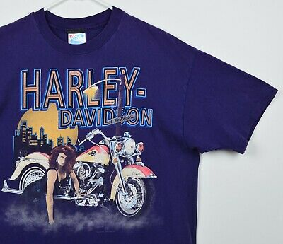 $ CDN46.66 • Buy Vintage 1992 Harley-Davidson Men's Sz XL On The Prowl Biker Purple T-Shirt