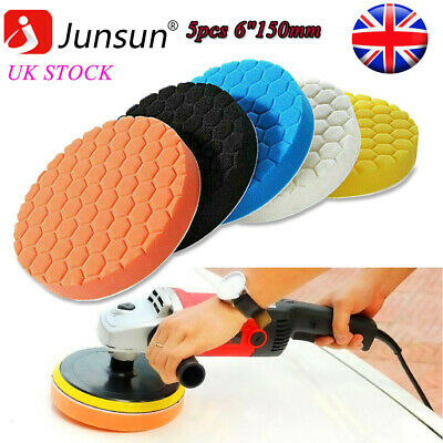 5pcs 6 150mm Buffing Waxing Polishing Sponge Pads Kit For Car Polisher Drill UK • 7.99£