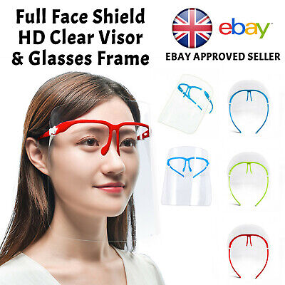 Full Face Shield Visor Glasses Protection Mask PPE Transparent Clear Plastic • 3.99£