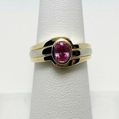$392 • Buy New! Genuine Pink Sapphire 14k Two Tone Gold Ring (7329)