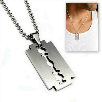 £4.88 • Buy STAINLESS STEEL RAZOR BLADE PENDANT NECKLACE Chain Silver Charm Men Dog Tag