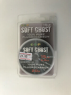 Esp Soft Ghost 100% Pure Fluorocarbon 15lb Fishing Line 20m Carp • 9.95£