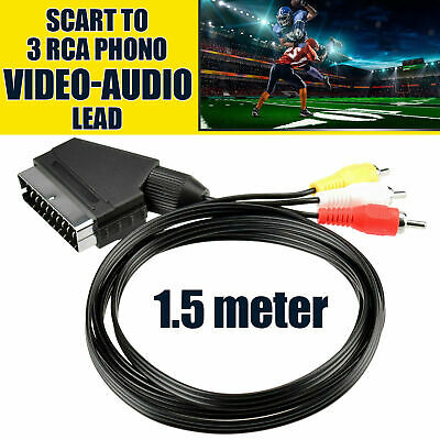 £2.95 • Buy 3x Scart To RCA Triple Phono Cable Composite Audio Video Cord 1.5 Meter UK
