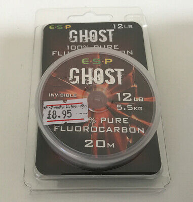 Esp Soft Ghost 100% Pure Fluorocarbon 12lb Fishing Line 20m Carp • 8.95£