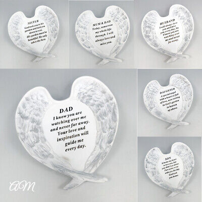 White & Silver Angel Wings Plaque, Grave Stone Decoration Tribute Memorial Verse • 14.95£