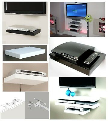 Floating Media Shelves Shelf For DVD SKY BOX TV AV Xbox Wall Mounted Unit Kit • 14.95£