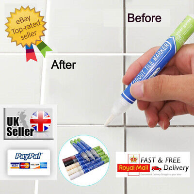 Grout Pen Anti-Mould Tile Repair Revive Kitchen,Bathroom,Shower  White & Colours • 3.59£