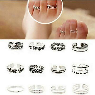 12 X Joblot Girls Ladies Silver Jewellery Adjustable One Size Toe Ring Mixed J4 • 4.45£