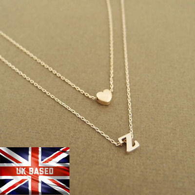 £3.79 • Buy Gold Silver Multi Layer Love Heart Initial 26 Letters Chain Necklace Gift Bag UK