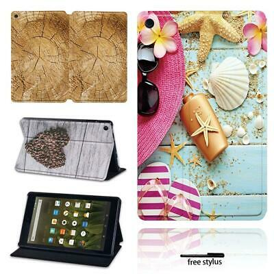 Wood Patterns Leather Stand Cover Case For Amazon Kindle Fire 7 / HD 8  / HD 10  • 8.99£