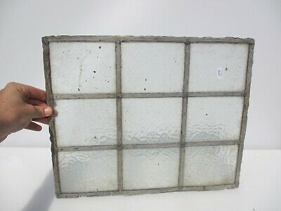 Vintage Stained Leaded Glass Window Panel Antique Old Frosted 17.5  X 14  • 25£