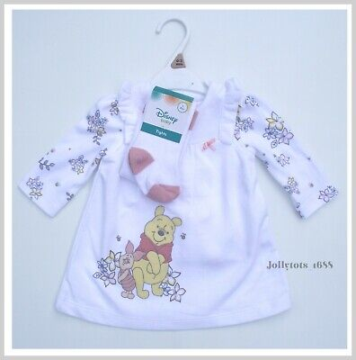 Disney Baby Girls Winnie The Pooh Pinafore Dress, Top & Tights Outfit Set NEW • 9.99£
