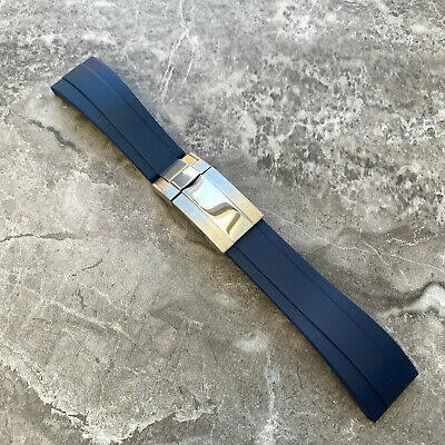 NEW Aftermarket 20MM Blue Silicone Rubber Watch Strap Band For Rolex OYSTERFLEX • 34£