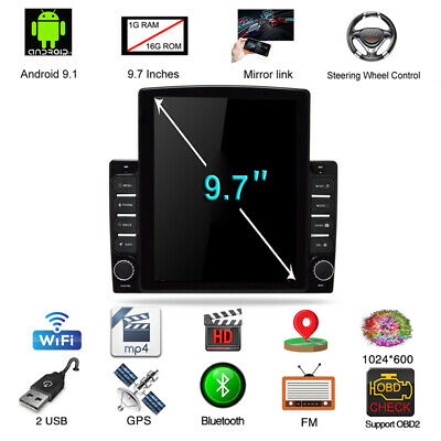 $229.59 • Buy 9.7'' Touch 1DIN Vertical Pad Android 9.1 Car Stereo Radio GPS Navigation 1+16GB