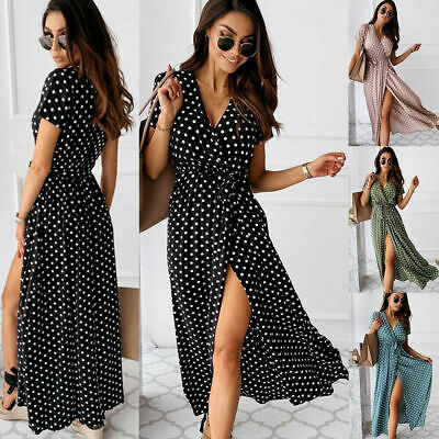 Womens Polka Dot Maxi Wrap Dress Ladies Summer Holiday V-Neck Party Prom Gown Uk • 14.10£