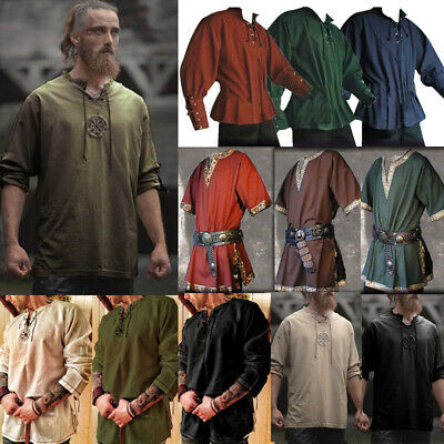 Medieval Ancient Viking Norseman Tunic Tops Shirts Blouse Pirate Cosplay Costume • 15.79£