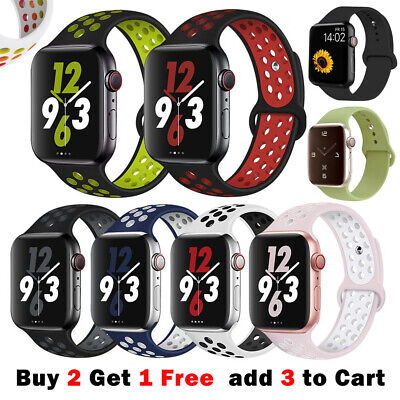 AU7.99 • Buy Sport Silicone Strap IWatch Band For Apple Watch Series 6 5 4 321 SE 40 44 38 42