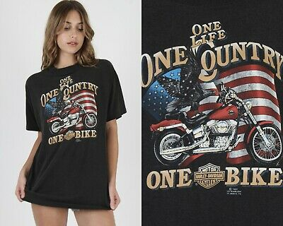 $ CDN127.35 • Buy Vtg 80s 3D Emblem Harley Davidson Motorcycle Biker One Life Country Bike T Shirt