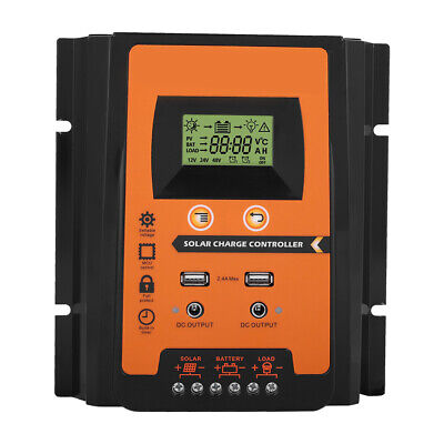 50A MPPT Solar Panel Controller Auto Dual USB Battery Charge Regulator 12V/24V • 24.99£