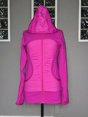 $ CDN68 • Buy Lululemon Pure Balance Jacket 6 Paris Pink Hoodie Ruched Slim Fit