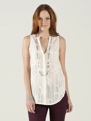 LAST ONE Nomads SLEEVELESS Ivory Button Front BLOUSE / Shirt Organic Cotton  • 10£