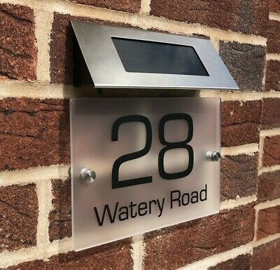 £24.99 • Buy  SOLAR LIGHT LED House Signs Frosted Plaques Door Custom Numbers Street Name