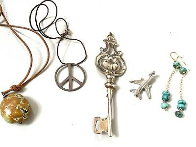 $ CDN9.25 • Buy Vintage Sterling Silver Turquoise Jewelry Lot, Key Pin, Vermeil, Peace Sign