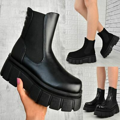 Womens Chunky Platform Sole Chelsea Boots Black Ankle Stretch Goth Punk Shoes • 23.99£