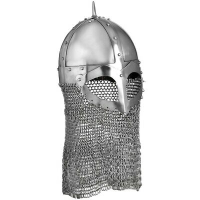 Battle Ready Forged 16 Gauge Steel Viking Helmet With Chainmail & Free Stand. • 104.50£