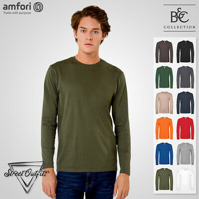 Мens Soft Cotton T-Shirt B&C 150 Crew Neck Long Sleeve Top Quality Ringspun Tee • 7.19£
