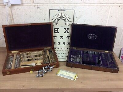 Two Vintage Optometry Opticians Eye Test Trial Lens Sets Sight Chart Etc • 349£