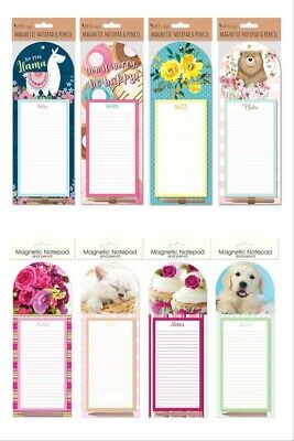 £3.49 • Buy Magnetic Meal Planner & Tear Off Shopping List Note Pad 4 Design With Pencil
