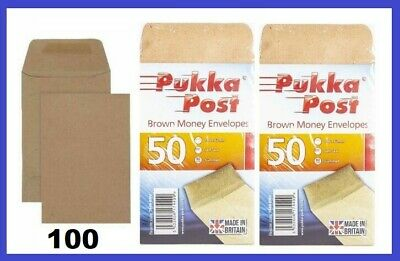 £4 • Buy 100 SMALL PLAIN BROWN ENVELOPES DINNER MONEY WAGES COINS SEED - SIZE 100 X 62mm