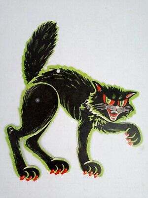 $ CDN34.97 • Buy Vintage BEISTLE Die Cut Black Cat Jointed HALLOWEEN Decoration 1950's? Rare EUC
