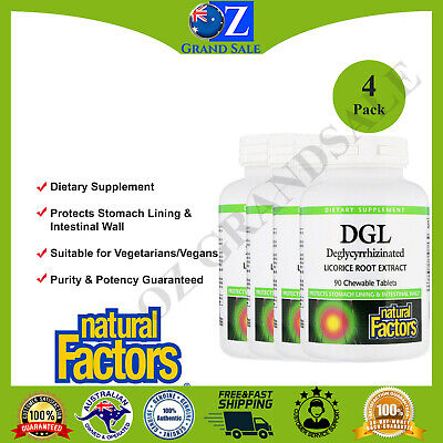 Natural Factors DGL Deglycyrrhizinated Licorice Root Extract 90 Chewable 4 Pcs • 52.28£