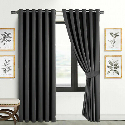 Pair Thick Thermal Blackout Ready Made Eyelet Ring Top Curtains Panel +Tie Backs • 15.99£