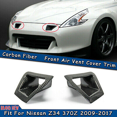 $98.66 • Buy 2x Carbon Fiber Front Bumper Side Vent Air Duct Intake Cover For Nissan 370Z Z34