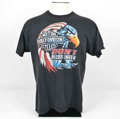 $ CDN39.94 • Buy Vintage 90s Harley-Davidson Men's Sz Large Don't Mess With USA Eagle T-Shirt